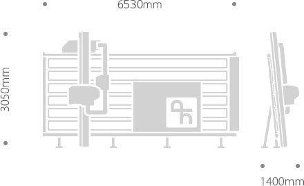 Dimensioni sezionatrice verticale SVP 420 AUTOMATIC TOUCH